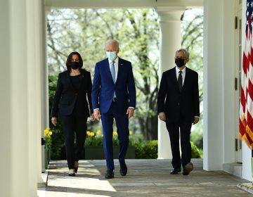 President Joe Biden, Vice President Harris and Attorney General Merrick Garland arrive at the White House Rose Garden to speak about gun violence prevention on Thursday. (Brendan Smialowski/AFP via Getty Images)