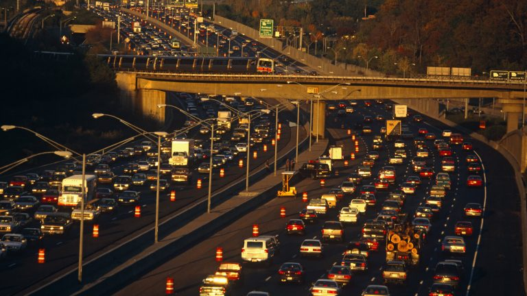 Near the junction of the 400 to Buckhead, the 401 highway divides and splits during afternoon rush-hour traffic.