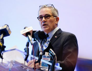 Philadelphia District Attorney Larry Krasner speaks during a news conference