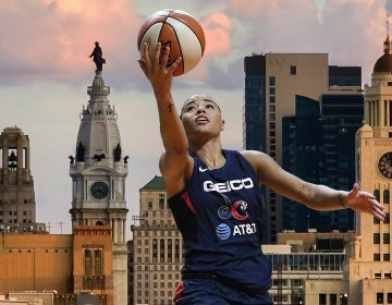 Natasha Cloud appears in the foreground with a basketball; the Philadelphia skyline appears in the background