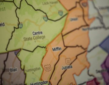 A close-up of a Pennsylvania congressional map.