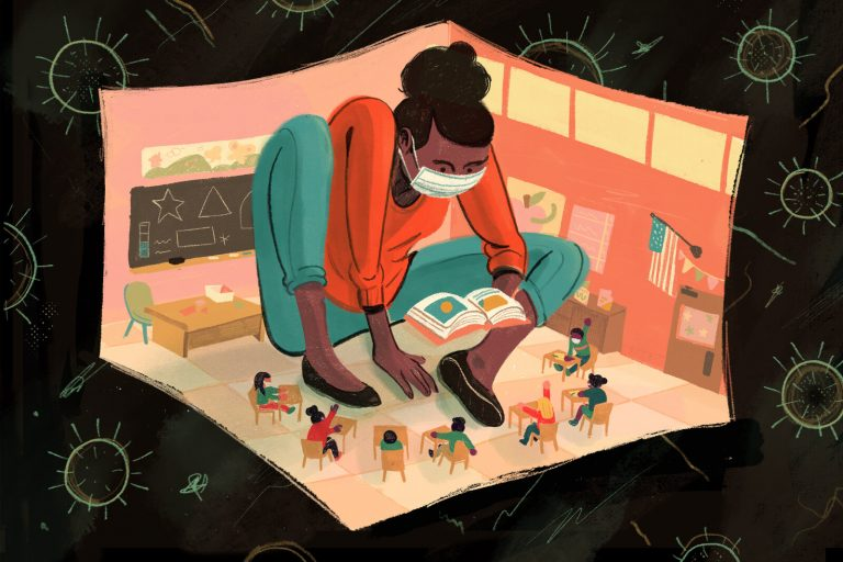 An illustration of a teacher wearing a mask inside a classroom, wherein the teacher is jumbo-size but the students and classroom are small