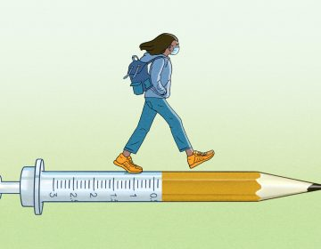 An illustration of a person wearing a face mask walking on a combination of a syringe and a pencil.