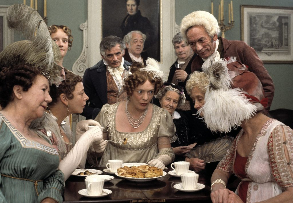 Mrs Bennet (Alison Steadman), centre, at the Assembly Rooms in Pride and Prejudice