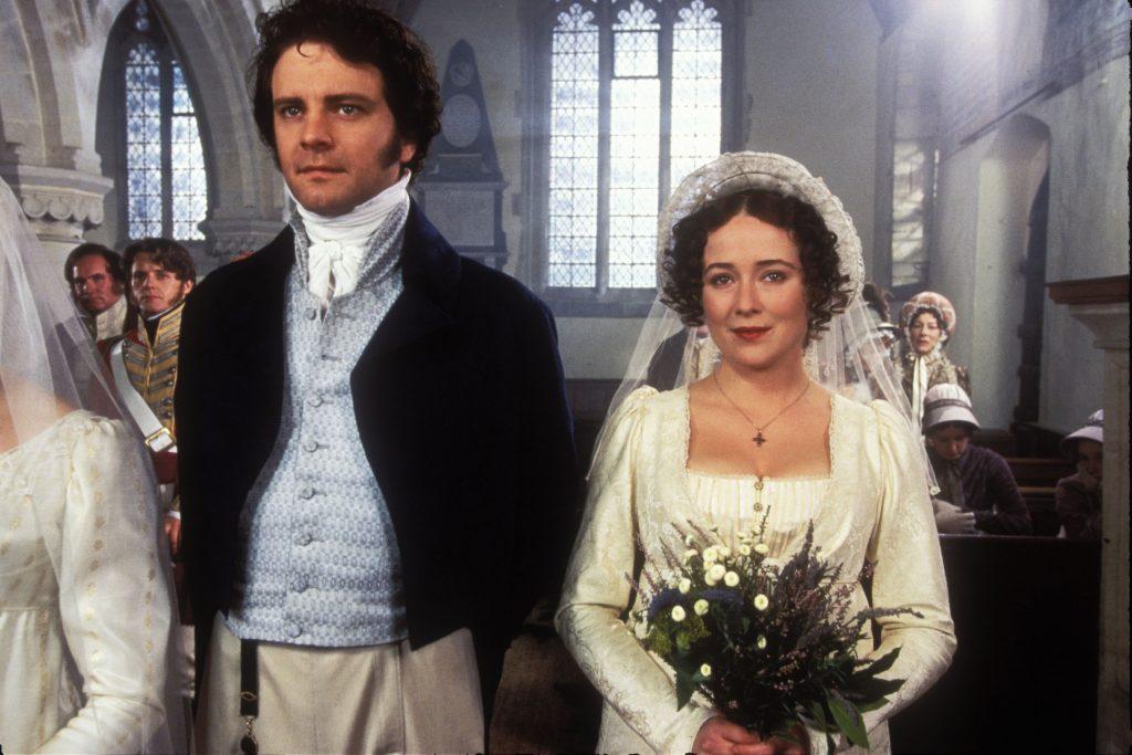 Mr. Darcy (Colin Firth) and Elizabeth Bennet (Jennifer Ehle) getting married in Pride and Prejudice