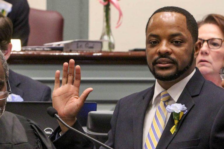 Darius Brown is sworn in as a Delaware State senator at Legislative Hall in Dover in January 2019. (Emma Lee/WHYY)
