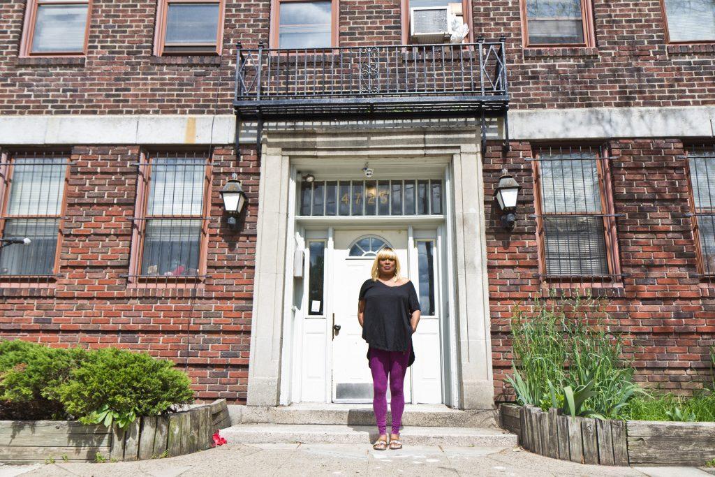 Rita Stewart outside her apartment in West Philadelphia on April 22, 2021. (Kimberly Paynter/WHYY)