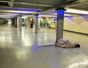 Philadelphia cleared out a homeless encampment at the 12th/13th Street PATCO station on May, 5, 2021. By the afternoon, at least one occupant had returned. (Emma Lee/WHYY)