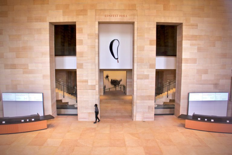 Redesigned Lenfest Hall at the Philadelphia Museum of Art West Entrance opens onto a soaring event space and new galleries. (Emma Lee/WHYY)