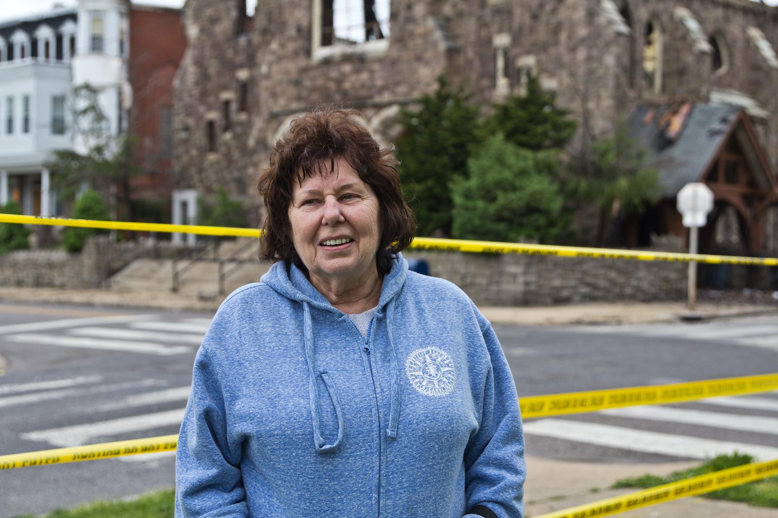 Barbara Kemery stands outside St. Leo's