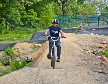 19-year-old Kevin Pritchett Greene has been coming to the Philly Pumptrack since it opened. He's a competitive racer and placed in 1st and 2nd recently at BMX races in New Jersey. (Kimberly Paynter/WHYY)