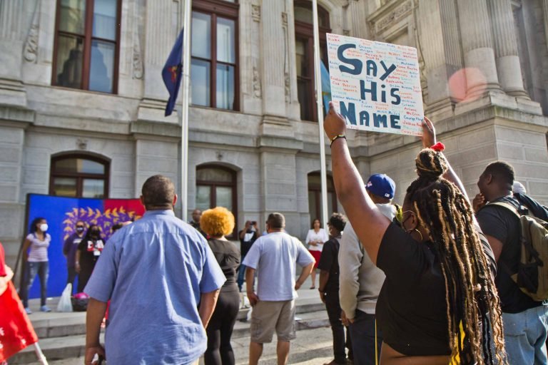 The Philadelphia Labor for Black Lives Coalition held a vigil for George Floyd on the one-year anniversary of his death at City Hall on May 25, 2021. (Kimberly Paynter/WHYY)