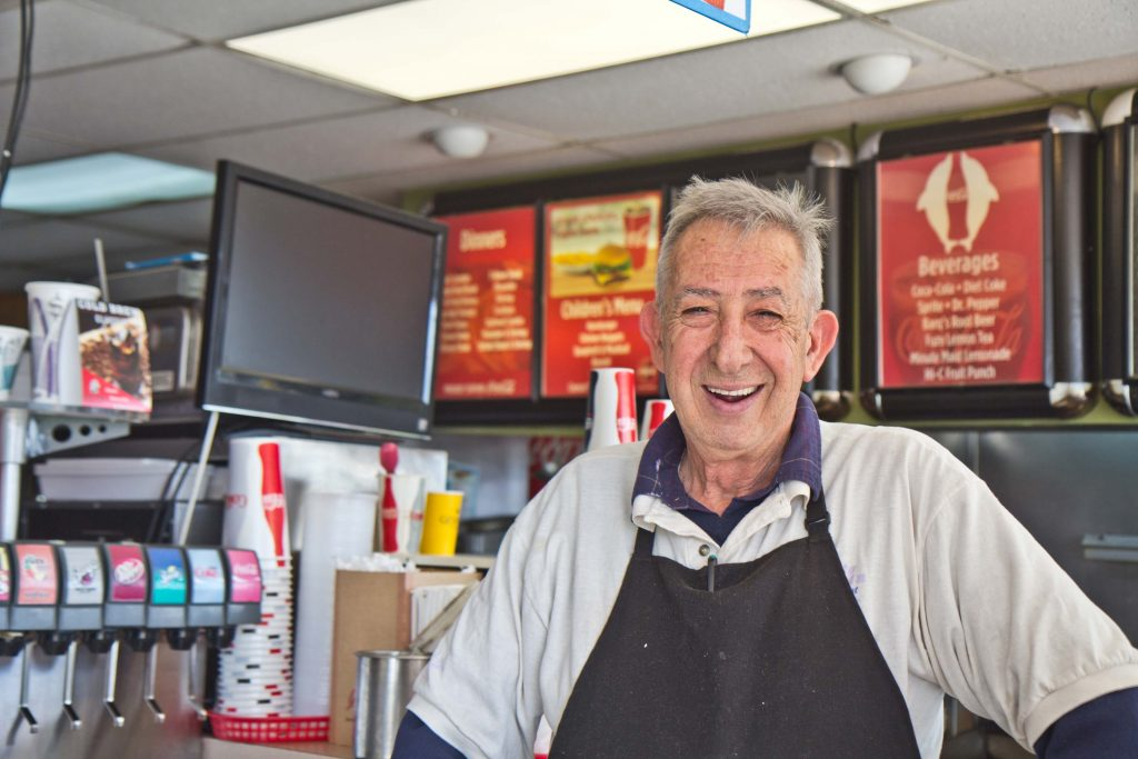 Mike Madafias is the semi-retired owner of the White Dolphin diner on the Wildwood boardwalk. (Kimberly Paynter/WHYY)