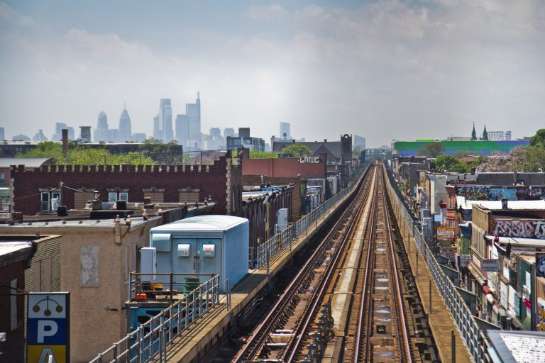 Looking out at the Philadelphia skyline from the Allegheny SEPTA station