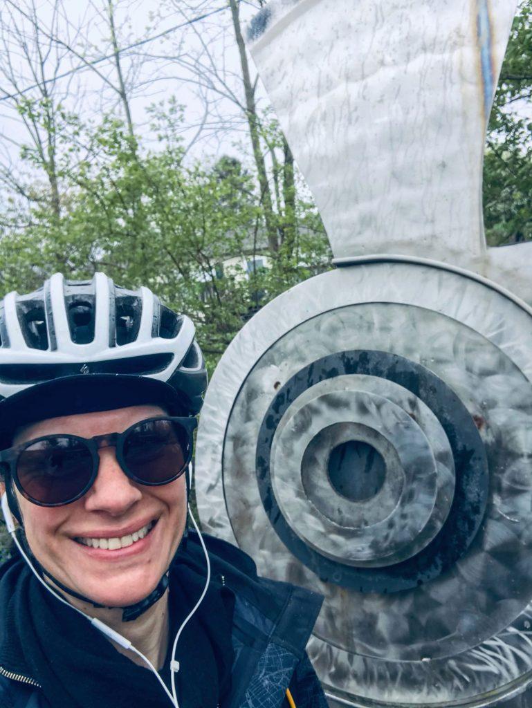 Rachel Weaver is pictured wearing a bike helmet.