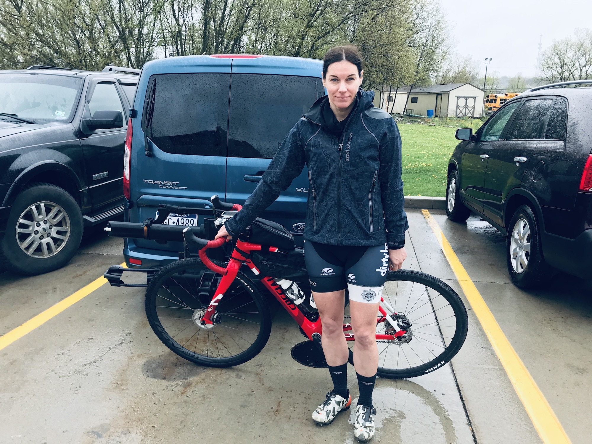 Rachel Weaver is pictured with her bike in a parking lot