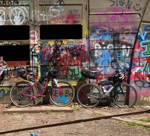 Bikes are pictured along an abandoned turnpike