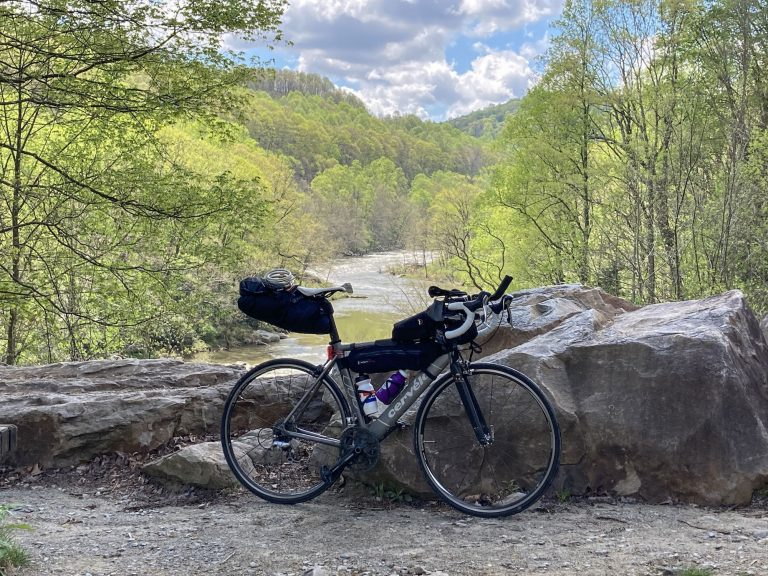 A bike is pictured at an overlook just before Ohiopyle.