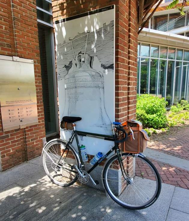 A bike is pictured outside the Liberty Bell