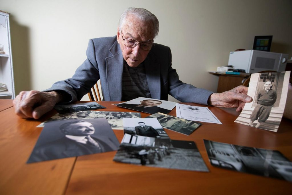Ken Brady, now 99, was taken in by the Milton Hershey School during the Depression, after his father died. Milton Hershey handed Brady his diploma when he graduated. Today, he marvels at the size of the school's fortune and wonders if it could do more. (Charles Fox/The Inquirer)
