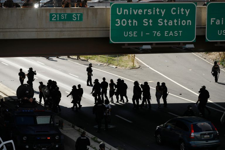 In this file photo from June 1, 2020, protesters march down Interstate 676 in Philadelphia, during a march calling for justice over the death of George Floyd. (AP Photo/Matt Rourke)