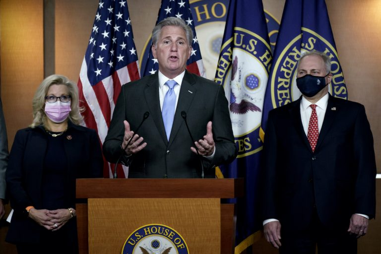 House Minority Leader Kevin McCarthy, R-Calif., center, flanked by GOP Conference chair Rep. Liz Cheney, R-Wyo., left, and House Minority Whip Steve Scalise, R-La., right, speaks to reporters  following their leadership elections for the 117th Congress, at the Capitol in Washington, Tuesday, Nov. 17, 2020.  (AP Photo/J. Scott Applewhite)