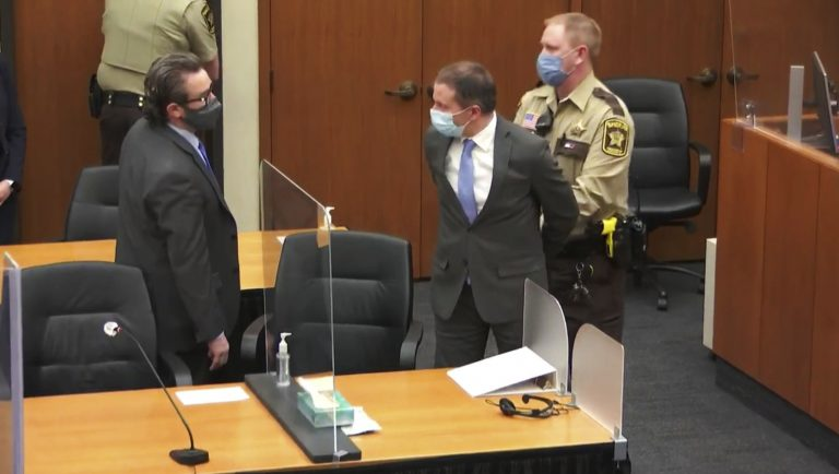 In this April 20, 2021 file image from video, former Minneapolis police Officer Derek Chauvin, center, is taken into custody as his attorney, Eric Nelson, left, looks on, after the verdicts were read at Chauvin's trial for the 2020 death of George Floyd,, at the Hennepin County Courthouse in Minneapolis, Minn. Nelson has requested a new trial, saying the court abused its discretion when it refused to change the venue in the original proceedings, according to a court document filed Tuesday, May 4, 2021. (Court TV via AP, Pool, File)