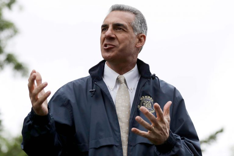 In this Monday, May 29, 2017, file photo, New Jersey Assemblyman Jack Ciattarelli, who is a Republican candidate in the gubernatorial primary election, speaks to a crowd during a Memorial Day observance, in Bridgewater, N.J. (AP Photo/Julio Cortez)