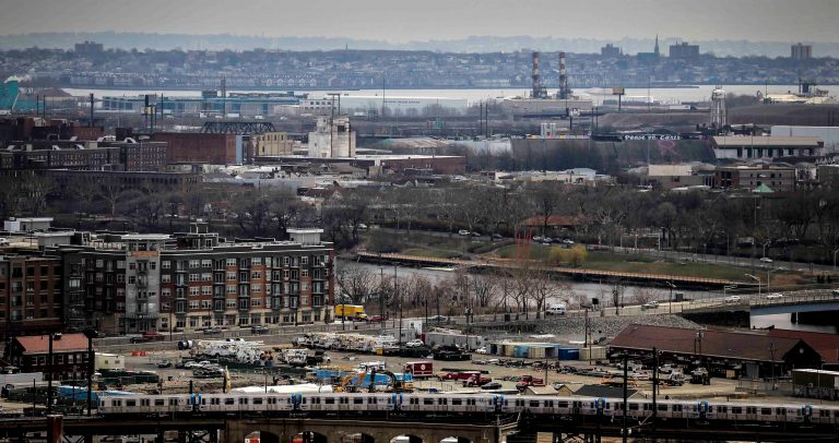 In this Tuesday April 10, 2018, file photo are sections of Newark and the Passaic River in New Jersey. (AP Photo/Seth Wenig)
