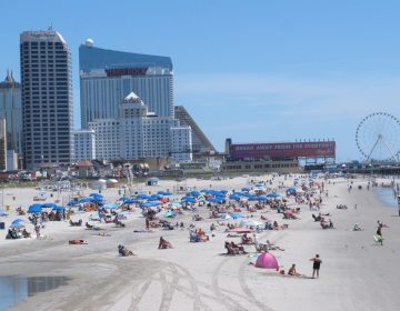 Beachgoers on the sand in Atlantic City
