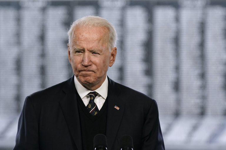President Joe Biden speaks at a Memorial Day event