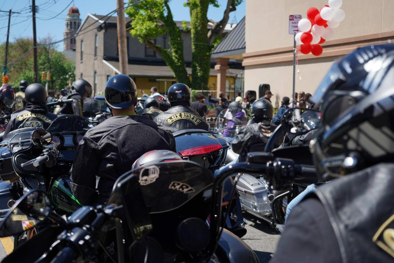 Riders from the Black Bikers Vote rally prepare to start the route in West Philadelphia on May 1, 2021. (Kenny Cooper/WHYY)