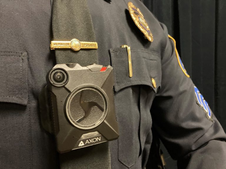 The new body-worn camera is displayed on the uniform of a Wilmington Police officer. (courtesy City of Wilmington)