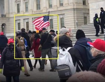 In this screengrab posted by an online account that's been identifying people present at the U.S. Capitol on Jan. 6, state Sen. Doug Mastriano (R-Adams), highlighted in a yellow box, appears to walk with a group of demonstrators parallel to the east steps of the Capitol building. (Screenshot)