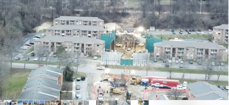 Aerial view of Sunoco's Mariner East pipeline construction at the Glen Riddle Station Apartments in Media. (P.K. Ditty)