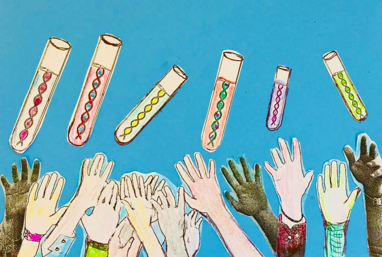 Illustration of peoples hands reaching up for vials of DNA