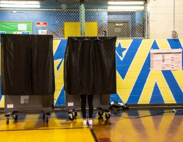 Poll workers at Towey Recreation Center in Kensington said in-person voter turnout had been low for the Pennsylvania primary election on May 18, 2021. (Kimberly Paynter/WHYY)