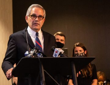 Philadelphia District Attorney Larry Krasner declares victory in the race against Carlos Vega at the Sonesta Hotel in Center City Philadelphia on May 18, 2021. (Kimberly Paynter/WHYY)
