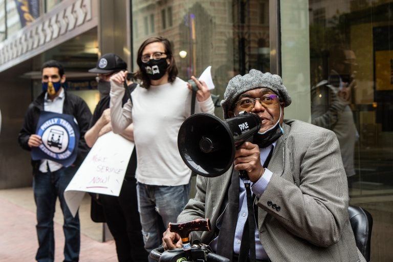 Colmon Holmes, who uses CCT as his main mode of transportation, said he was concerned about the cleanliness of public transit at a PhillyTRU rally outside SEPTA headquarters on May 24, 2021. (Kimberly Paynter/WHYY)