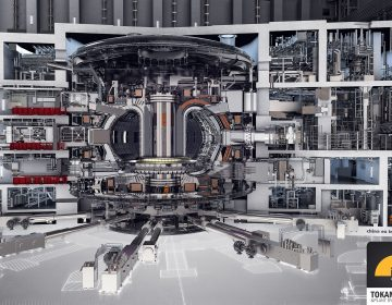 A drawing of the ITER tokamak and integrated plant systems shows the complexity of the ITER facility now under construction in France. (Wikimedia Commons)