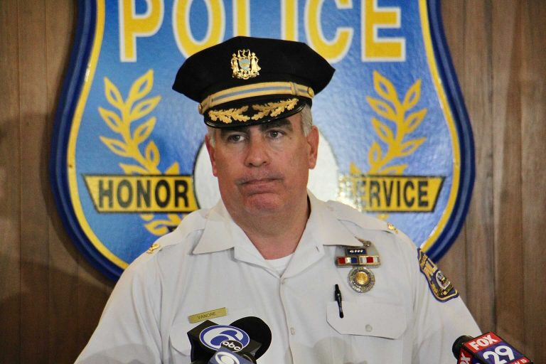 Chief Inspector Frank Vanore lays out the details of a violent weekend in Philadelphia. Twenty-five people were shot in 14 separate incidents. Seven of the victims died. (Emma Lee/WHYY)