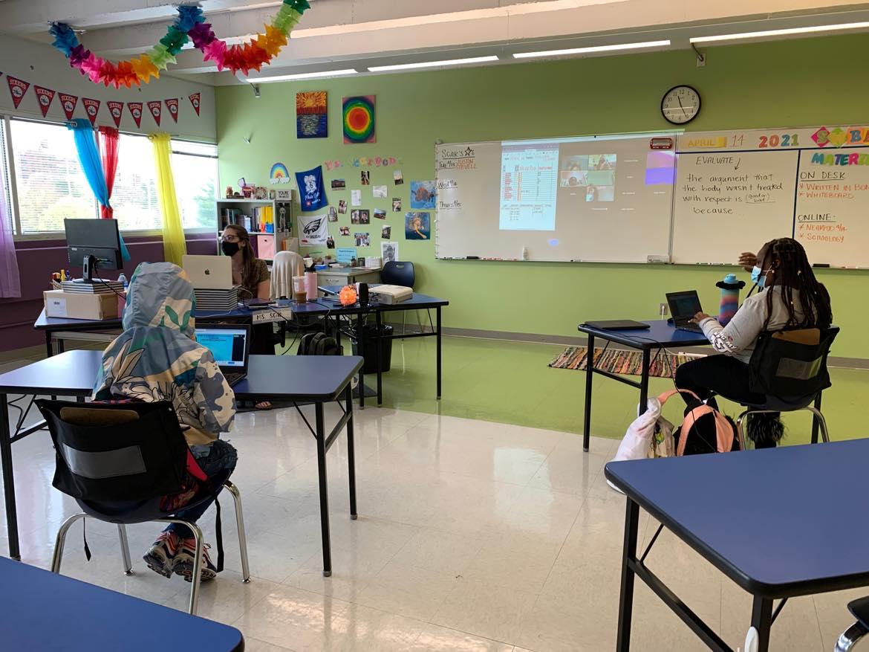 Inside Sam Scarpone's English class at Mastery Charter School-Pickett Campus in Germantown.