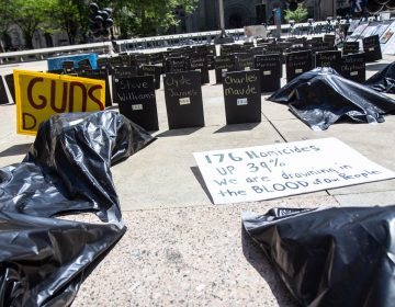 Body bags represent Philadelphians killed by gun violence