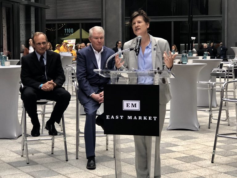 Philly Development and Planning Director Anne Fadullon speaks at a 2018 event. (Billy Penn/Twitter)