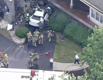 A car crashed into the Langhorne Gardens Health & Rehabilitation Center in Bucks County, Pennsylvania. (Screenshot via 6ABC)
