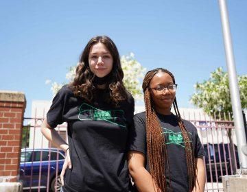 From left, Philly Teen Vaxx student ambassadors Nina Dilworth and Carmen Sackie. (Kenny Cooper/WHYY)