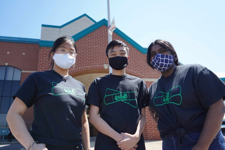 From left, Philly Teen Vass student ambassadors Vy Nguyen, Andy Nguyen and Keren Abraham. (Kenny Cooper/WHYY)