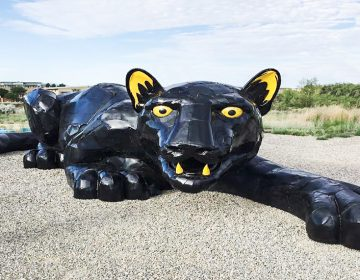 A large public art panther sculpture outside in Camden, NJ