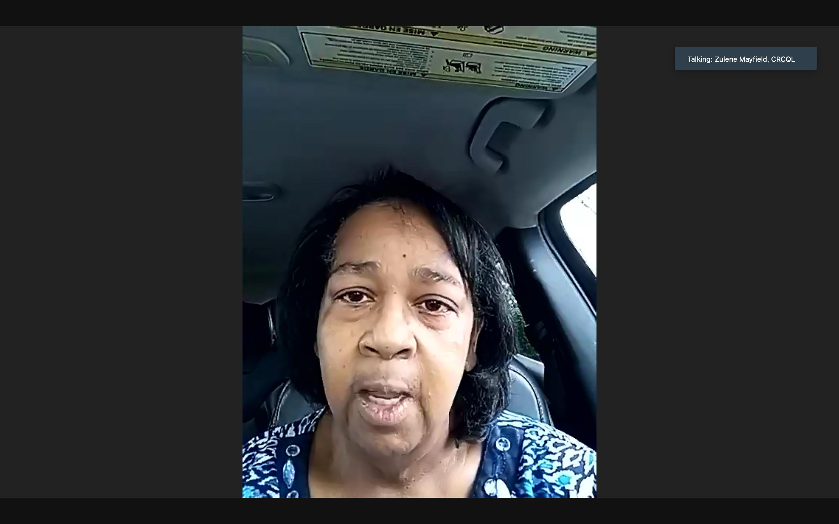 Zulene Mayfield, chair of the Chester Residents Concerned for Quality Living. (Screenshot)