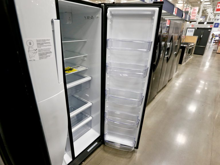 Refrigerators on sale in 2018 in Pennsylvania. The Environmental Protection Agency is planning to phase out the use of cooling chemicals that are powerful greenhouse gases. (Keith Srakocic/AP)